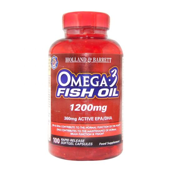 Omega 3 fish oil 1200mg 100 capsules h b india for Fish oil for psoriasis