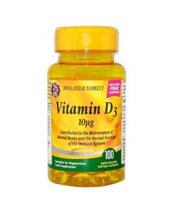 Holland & Barrett Vitamin D3 10ug 100 Capsules