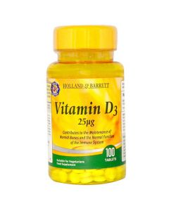 Holland & Barrett Vitamin D3 25ug 100 Tablets