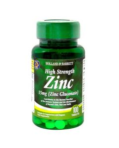 Holland & Barrett High Strength Zinc 15mg (Zinc Gluconate) 100 Tablets