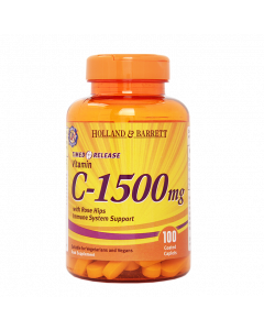 Holland & Barrett Timed Release Vitamin C With Wild Rose Hips 1500mg 100 Caplets