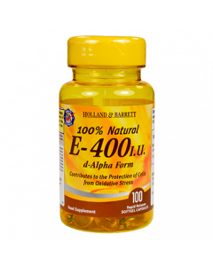Holland & Barrett 100% Natural Vitamin E- 400 I.U. 100 Capsules