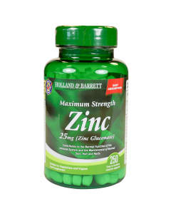 Holland & Barrett Maximum Strength Zinc 25mg (Zinc Gluconate) 250 Tablets